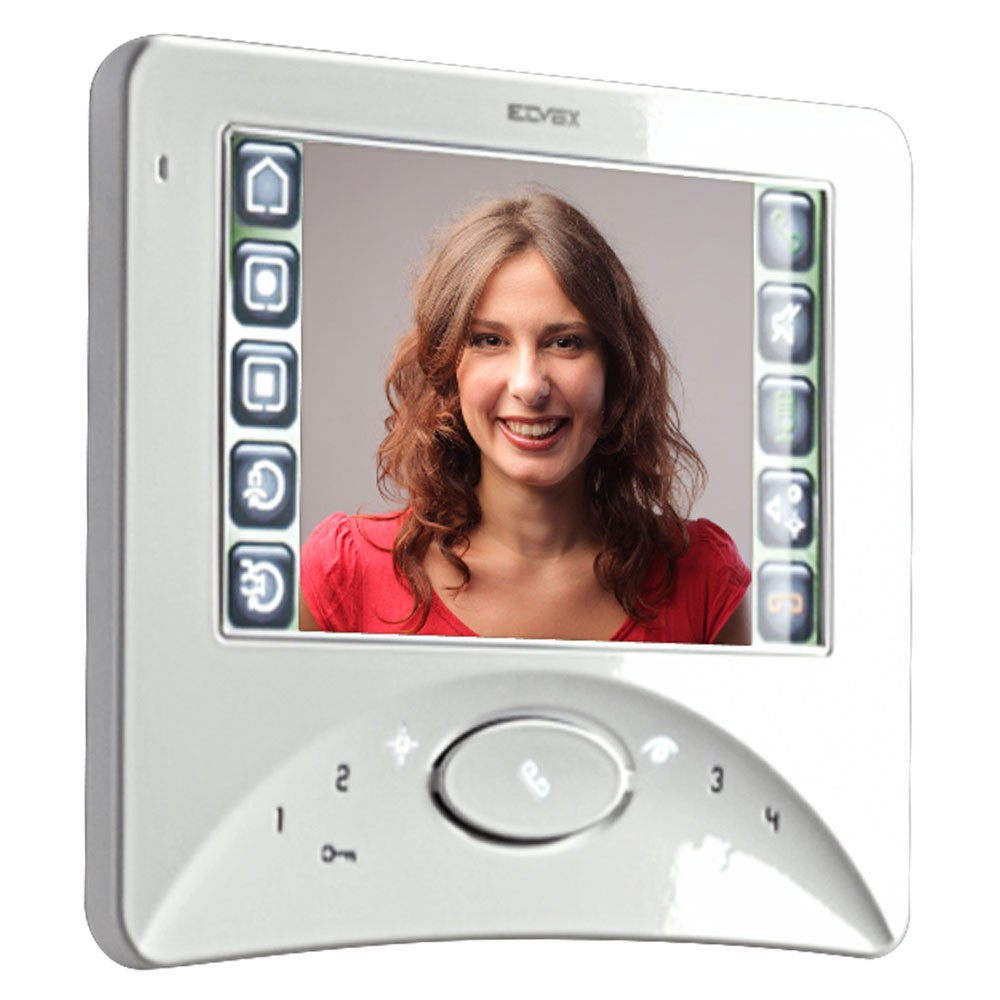 Elvox Door Entry - 7300 Series Touch Wide Screen Open Voice Video Monitor - white side view