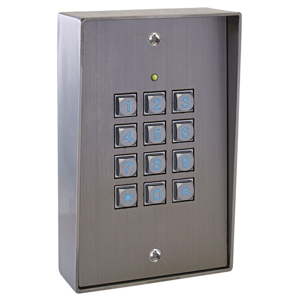 K50i Access Control keypad in Stainless Steel - surface mounting with hood