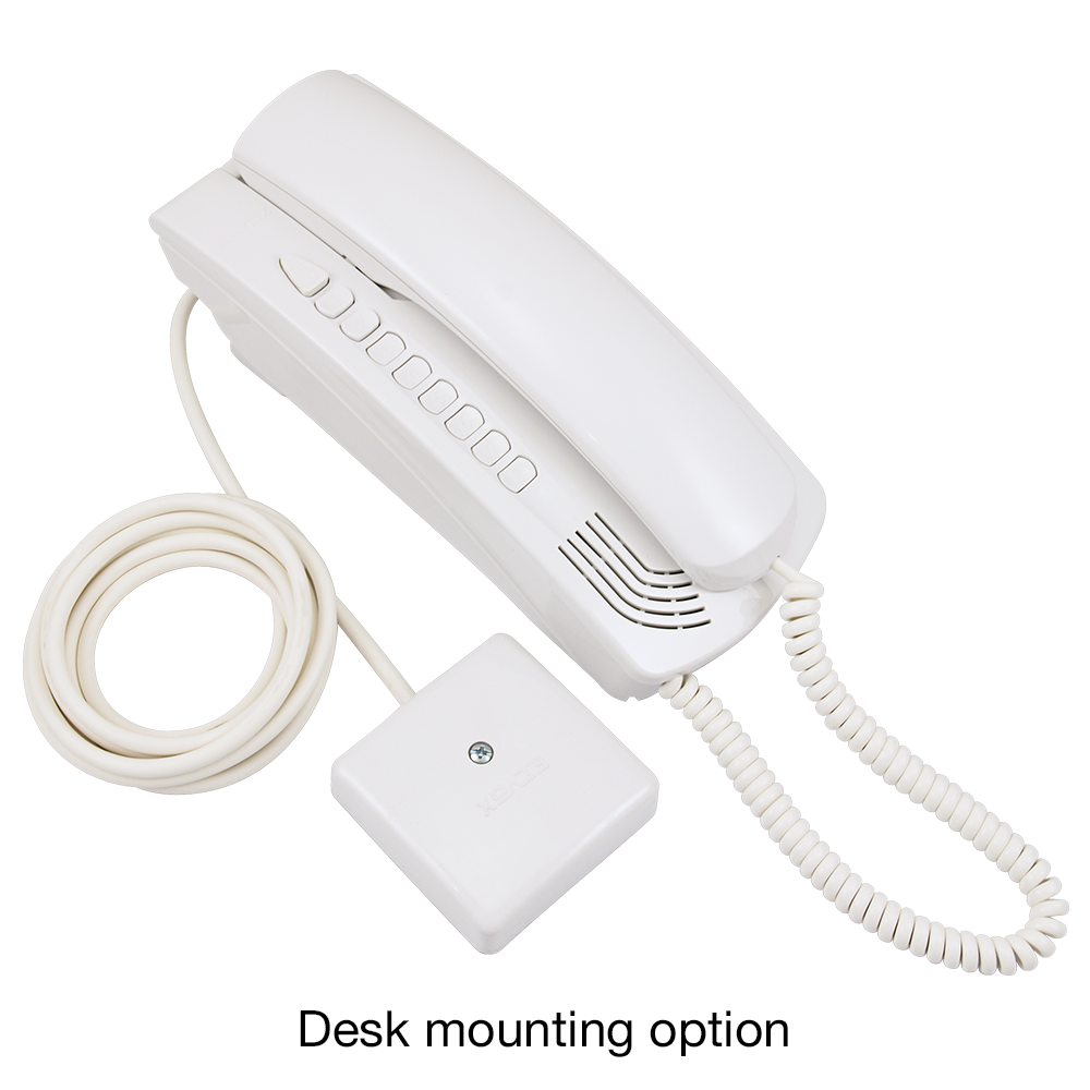 Elvox Petrarca 6200 Series Door Entry Audio Handset desk mounting option- White