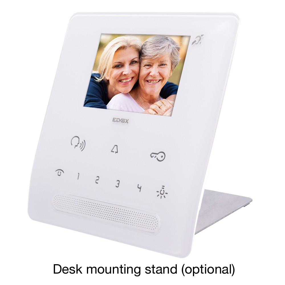 TAB Hands Free Video Door Entry Handset in White with desk mounting option
