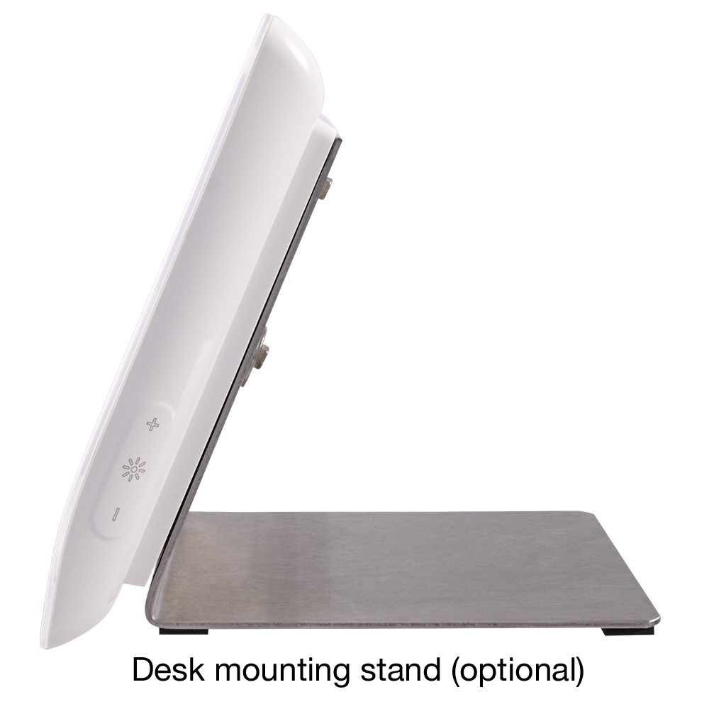 TAB Hands Free Video Door Entry Handset in White with desk mounting option side view
