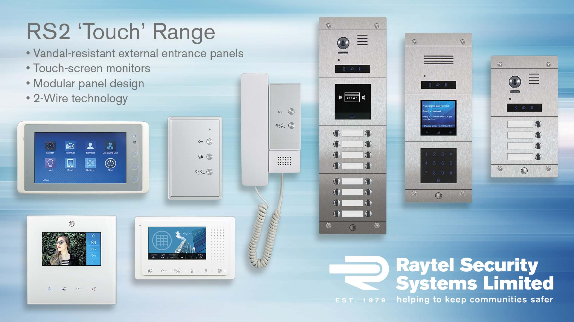 Touch series modular door entrance panels and touch-screen video monitor apartment units